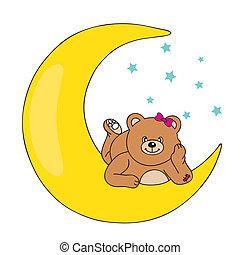 björn, lögnaktig, på, månen