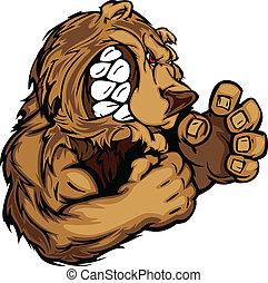 björn, maskot, med, stridande, räcker, gra