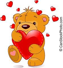 björn, med, hjärta