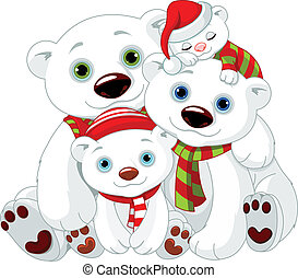 björn, polär, jul, familj, stor