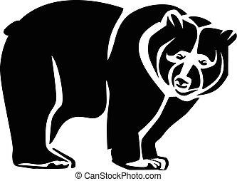 björn, svart, ikon