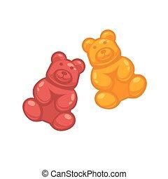 björnar, olik, färgad, gelé