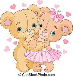 björnar, teddy, kärlek