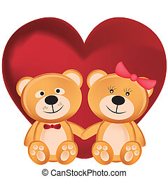 björnar, teddy, två dag, valentinkort