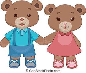 bjørne, teddy, stykke legetøj, hånd ind hånd