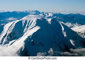 bjerg, bedække sne
