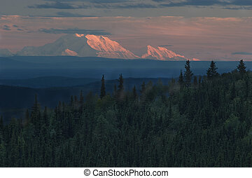 bjerg.., denali, hos, solnedgang