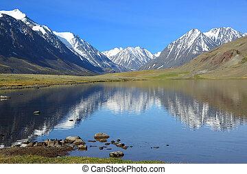 bjerg landskab, hos, sø