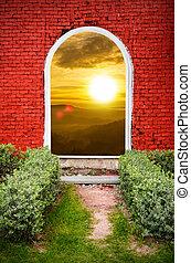 bjerg, mursten, solnedgang, rød, låge