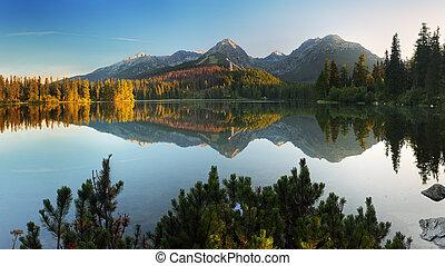 bjerg, pleso, -, sø, slovakia, tatra, strbske