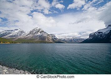 bjerg, rocky, sø