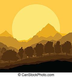 bjerg, scene natur, illustration, vektor, skov, baggrund, vild, landskab