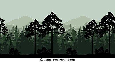 Bjerg, Silhuetter, Landskab,  seamless, Træer