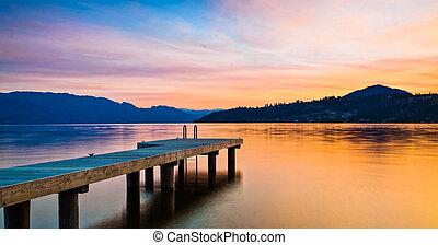 bjerg, solnedgang, sø, dok