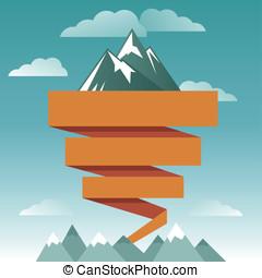 bjerg, vektor, konstruktion, retro, skabelon, ikon