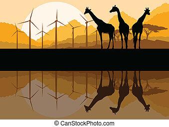 bjerg, vindmøller, økologi, giraffer, el, illustration, ...