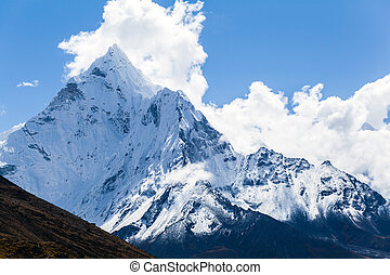 bjerge, ama, dablam, himalaya, landskab