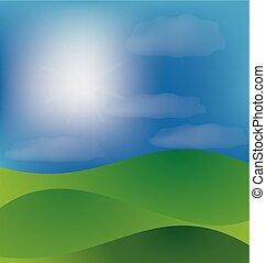 bjerge, dal, og blå, solfyldt, himmel