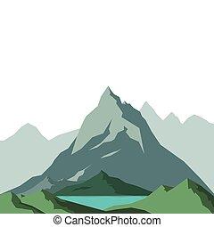 bjerge, hos, en, sø