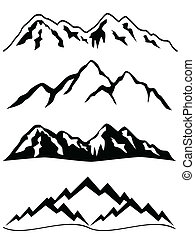 bjerge, hos, sne