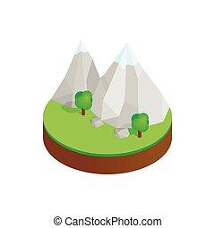 bjerge, ind, den, sne, ind, grønne, dal, ikon