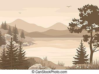 bjerge, landskaber, sø, træer, og, fugle