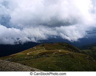 bjerge, og, clouds., carpatian, landskab