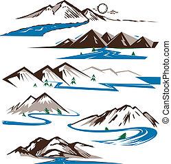 bjerge, og, floder