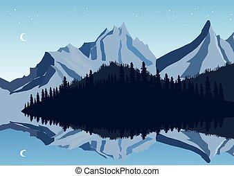 bjerge, og, himmel, reflektion, ind, en, sø, hos, skov