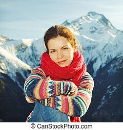 bjerge, pige, holdning, baggrund