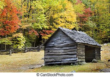bjerge, røgfyldte, log kabine