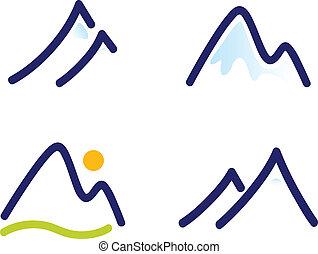 bjerge, sæt, bakkerne, snedækkede, iconerne, isoleret, hvid,...