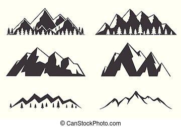 bjerge, sæt, iconerne, isoleret, baggrund., hvid