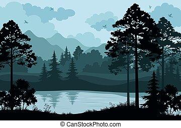 bjerge, træer, og, flod