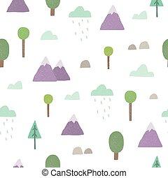 bjerge, træer, seamless, pattern., vektor