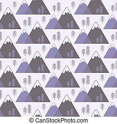 bjerge, vektor, seamless, træer, mønster
