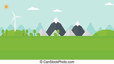 bjerge, vind, baggrund, turbine.