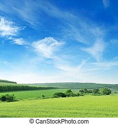 bjergrige, terræn, og, den, blå himmel
