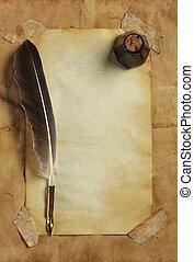 bläck, papper, gammal, vingpenna, &