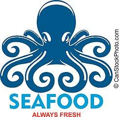 bläckfisk, design, skaldjur, fridsam, ikon, meny, blå