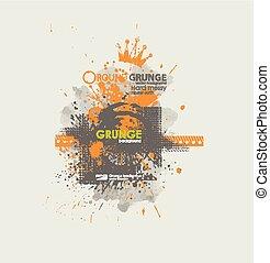 bläckigt, t-shirt., grunge, urban, affisch, abstrakt, smuts,...