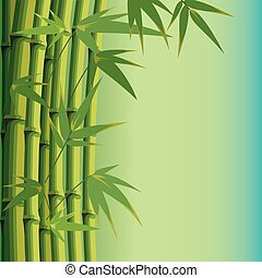 blätter, bambus, hintergrund, stämme