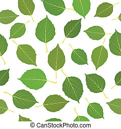 blätter, grün, seamless, birke