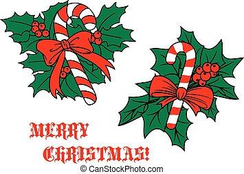 blätter, krückstock, geschenkband, weihnachtsteller