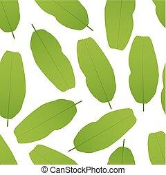 blätter, pattern., seamless, abbildung, vektor, banane