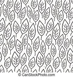 blätter, vektor, pattern., seamless