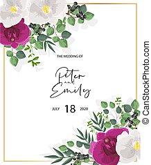 blätter, weißes, orchidee, karte, grün, dekorationen, wedding, flowers., lila