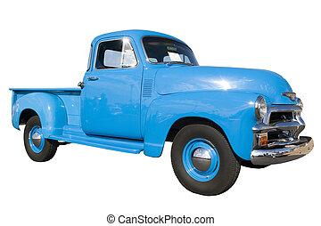 blå, årgång bil, visa