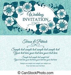 blå, årgång, bröllop inbjudan, kort