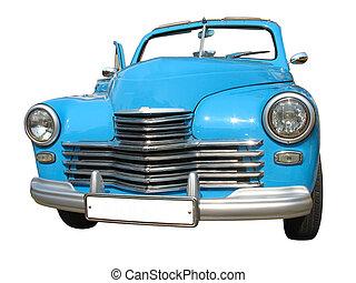blå, årgång, isolerat, retro, bil, dröm, lyxvara